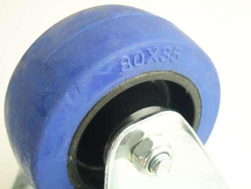 2 Sets SL 80 mm Schwerlast Blue Wheels Lenkrollen /& Bockrollen Transportrollen
