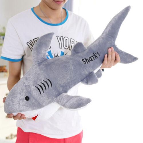Large Plush Dolls Toy Stuffed Animals Shark Shaped Soft Pillow Cushion Gift 50cm
