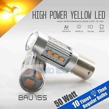 2X BAU15S 60W High Power Yellow/Amber SMD LED Turn Signal Brake Tail Light Bulbs