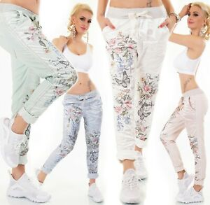 Italy-Trousers-Jogging-Baggy-Boyfriend-Casual-Glossy-Shiny-Flowers-36-40