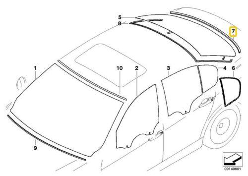 GENUINE BMW E90 3-Series Rear Lower Glass Moulding Trim Seal OEM 51317138664