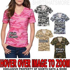 6ec45e32d4f Ladies Camo V-NECK T-Shirt Preshrunk Cotton Womens Tee XS-XL 2X 3X ...