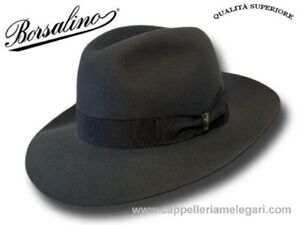 Cappello-Borsalino-Fedora-Qualita-Superiore-ala-7-5-cm-grigio-antracite