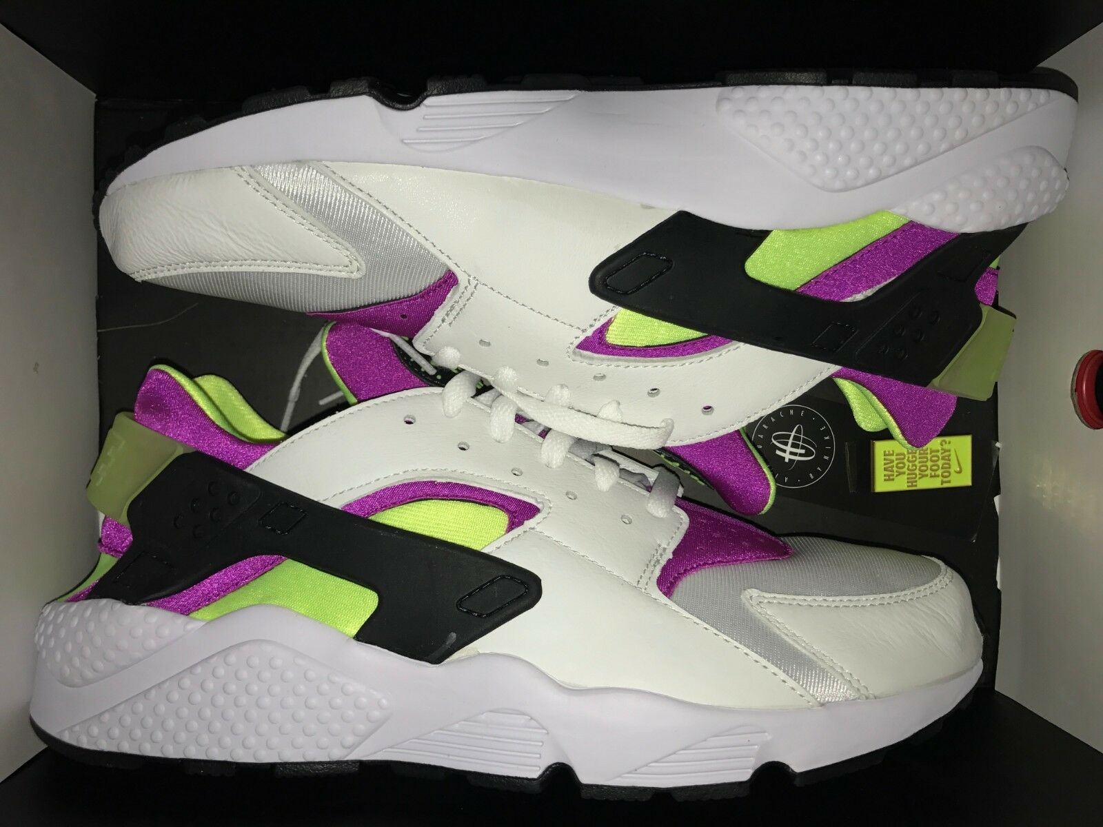 2018 Nike Air Huarache Run 91 OG QS SZ 12 White Magenta Black Volt AH8049-101