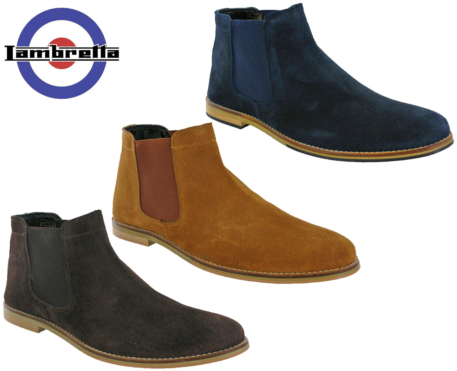 Lambretta Desert Boots Chelsea Leather Suede Mens Flat Fashion MOD Jackson