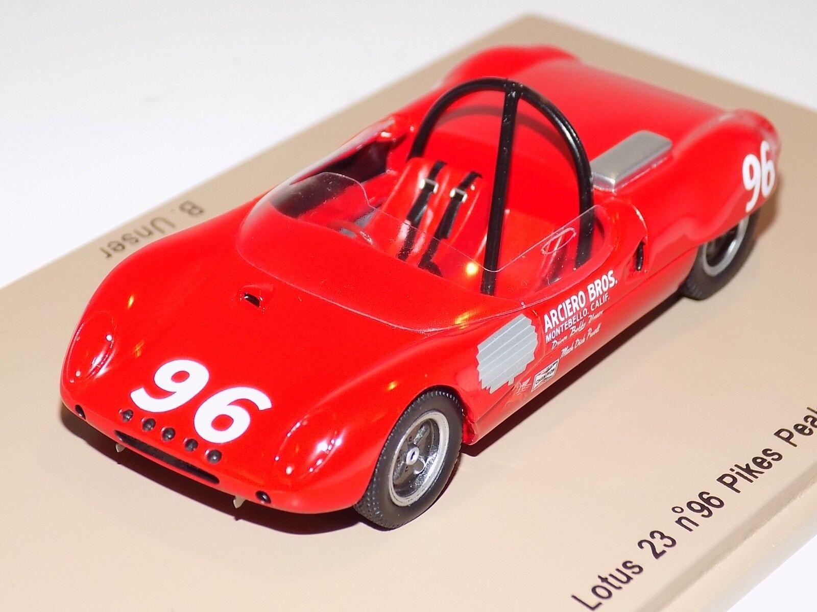1/43 Spark Models Lotus 23 Car  96 of Bobby Unser Pikes Peak 1964 PP003