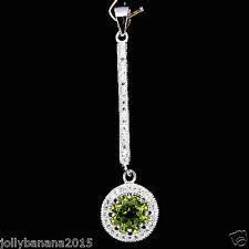 Elegant Natural Gem Top Rich GREEN PERIDOT-White Cz 925 Sterling Silver Pendant