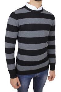 Sweater-Man-Slim-Fit-Black-Gray-Winter-Golfino-Sweater-Casual-Striped