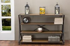 Baxton Studio Lancashire Brown Wood and Metal Console Table YLX-0004-AT