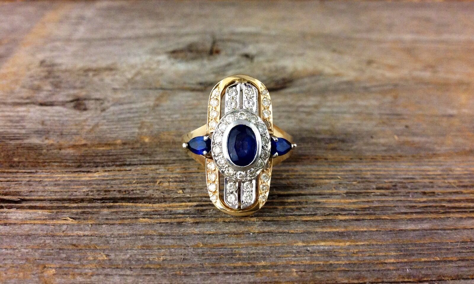 Two Tone 14kt gold Sapphire and Diamond Ring
