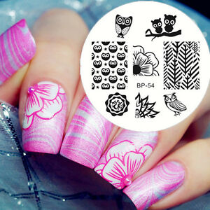 Image Is Loading Born Pretty Nail Stamping Plates Stencil Owls Flower