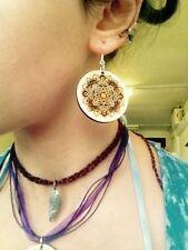 Laser Cut Wooden Mandala Earrings with Engraved Detailing