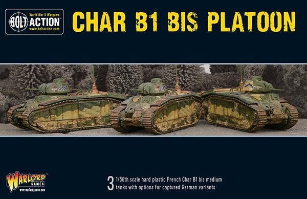 Warlord Games Char B1 hasta Platoon 28mm FRENCH Alemán TANQUES WW2 Bolt
