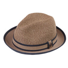ea7106e3211c3 Woven Straw Trilby Hat Golden Brown Band Straw Straw M 57cm 1800