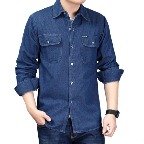 Mens Cotton Denim Long Sleeve Shirt with Flap Pocket Vintage Casual Blouse Top