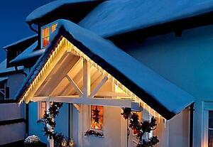 Weihnachtsbeleuchtung Für Balkongeländer.Details Zu Led Lichterkette Lichtervorhang Eiszapfen Eisregen Balkon Weihnachtsbeleuchtung