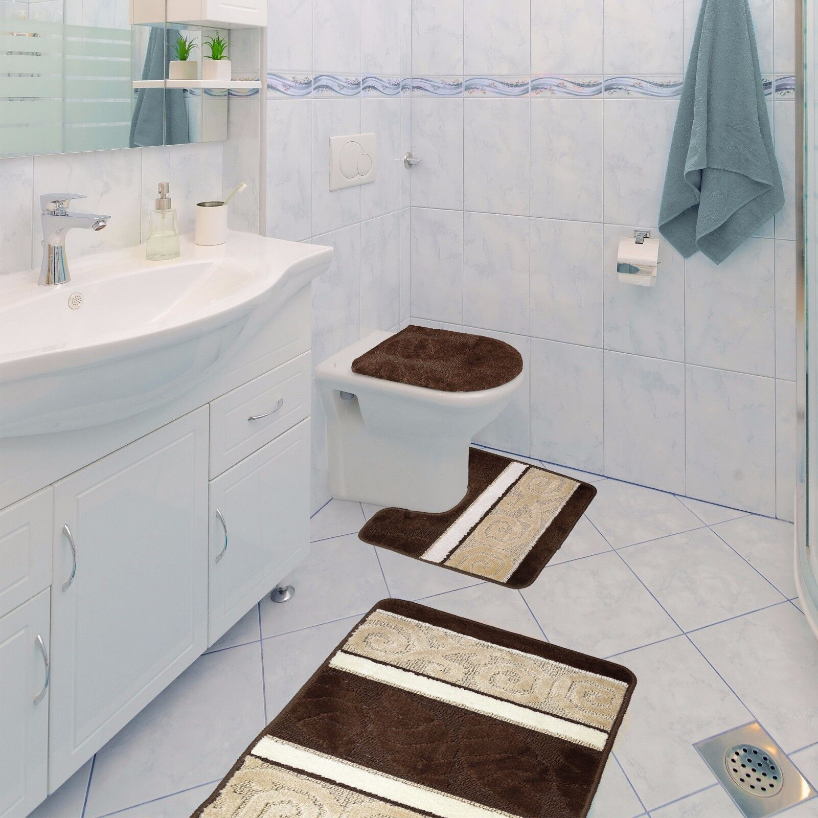 Scroll 3 Piece Bathroom Rug Set Bath Mat Contour Lid Cover