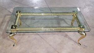 Exceptionnel Image Is Loading Hollywood Regency Solid Brass And Glass Cabriole Leg