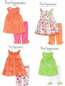 NWT SZ 0/3 & 3/6 MONTHS GIRL FIRST IMPRESSIONS 2 PC OUTFIT SET TOP LEGGINGS NEW