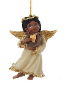 KURT ADLER AFRICAN AMERICAN ANGEL PLAYING HARP w/GOLD GLITTER CHRISTMAS ORNAMENT
