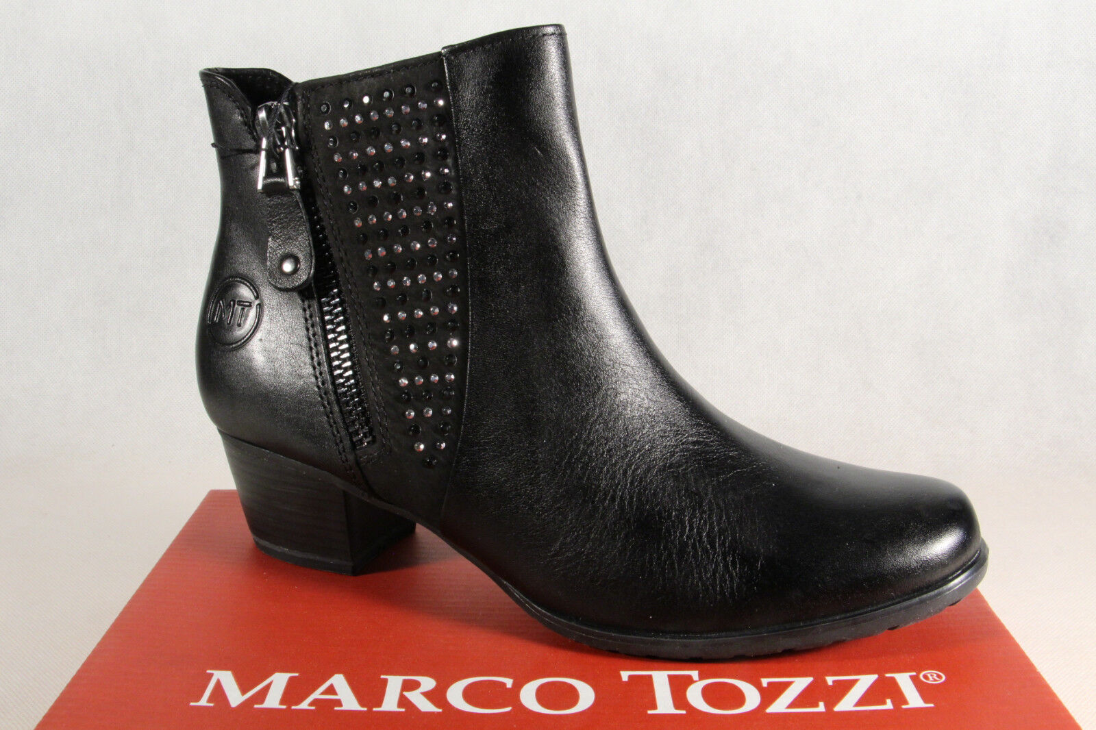 Marco Tozzi Boots, Ankle Boots, Black Lightly Lined, 25368 Real Leather New