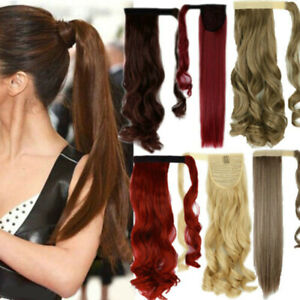 Straight-Curly-Thick-Clip-in-Ponytils-Hair-Extensions-Brown-Ponytail-Hairpiece