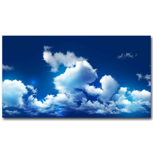 Sunbeam Cloud and Blue Sky Nature Silk Poster 12x21 32x57 inch Home Decor 003