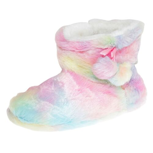 Slumberzzz Womens//Ladies Rainbow Pom-Pom Slipper Boots SL661