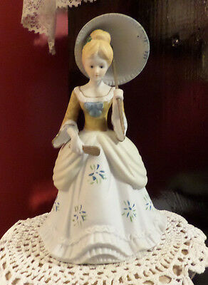"Porcelain Victorian Lady Figurine with Parasol - Measures 8 1/2"" with umbrella"
