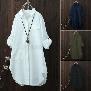 ZANZEA-Women-Buttons-Down-Long-Sleeve-Shirt-Tops-Asymmetrical-Split-Blouse-Plus