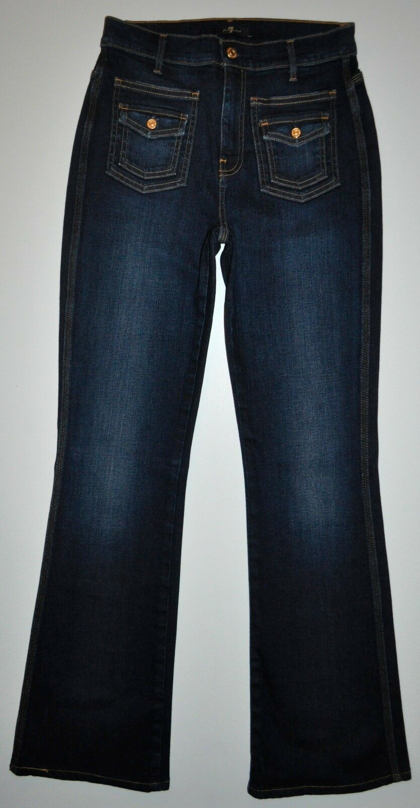 7 FAM Mankind Dark bluee High Waist Boot Cut Flare Jeans Size 28 X 31 Stretch