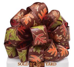 Wired-1-5-034-Brown-Satin-with-Leaf-Design-Crafts-Wreath-Embellishment-Scrap-book