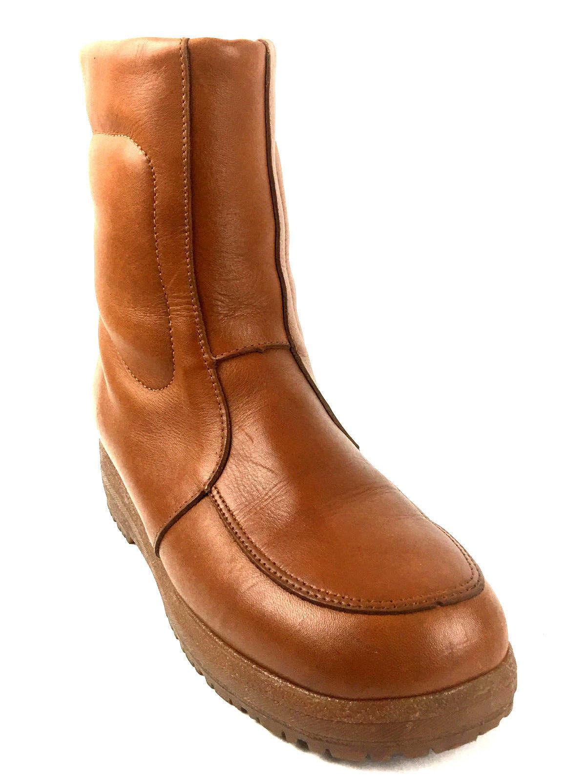 Blondo Mid Calf Tan Side Zip  Wedge Heel boots Size US. 9 EUR. 42 UK.8.5