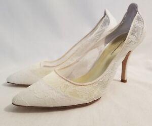 0f4bc1aa4034 Freya Rose London Rita Chantilly Sheer Ivory Lace Bridal Heel Pumps ...