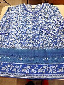 NWOT-Ulla-Popken-Womens-Blouse-20-22-Blue-Multicolor-Cotton-Tunic-2X-Border-Prin