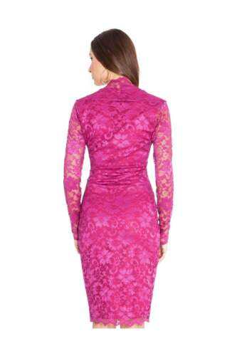 Goddiva Longsleeved Scalloped Lace Pencil Cocktail Evening Party Prom Midi Dress