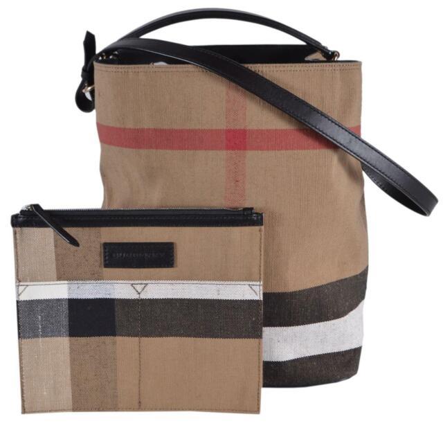 New Burberry Black Medium Canvas Nova Check Ashby Purse Shoulder Bag WPouch