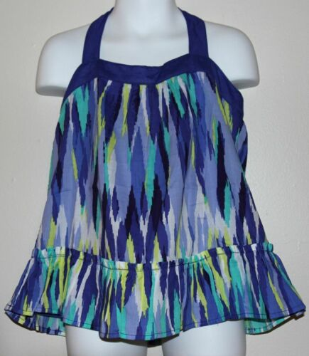 Gymboree SPARKLE SAFARI Blue//Yellow//White Ikat A-Line Halter Top//Shirt 5//5T NWT