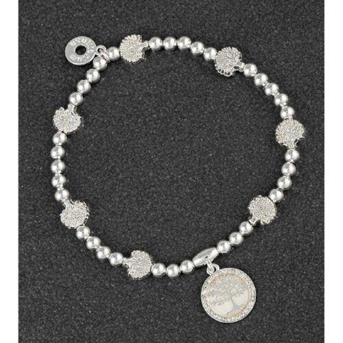 Equilibrio 299445 plata plateado pulsera de la Madre Perla expandible árbol de la vida