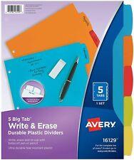 Avery Big Tab Write Amp Erase Durable Plastic Dividers Multicolor 1 Set Of 5 Tabs