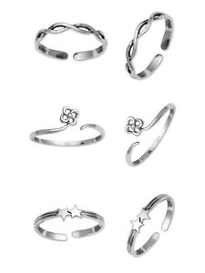 Jewelry & Watches 3 Pair Flower Infinity 925 Silver Women Foot Beach Toe Ring Adjustable Oxidized