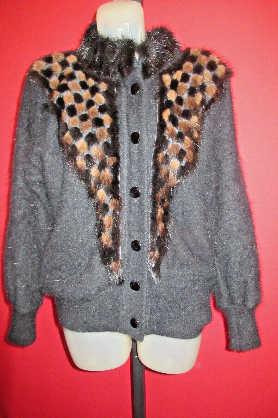 ~~C. C. International Black Brown Furry Hairy Angora Sweater Coat XL Satin Lined