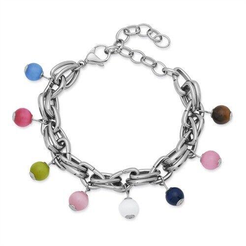 Doble unique pulsera de acero inoxidable con perlas de vidrio b5074