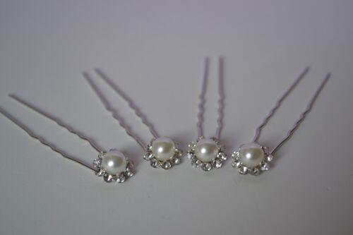 Wedding Hair Pins x 4 Silver Pearl Flower Shape Diamante Wedding Bridesmaids