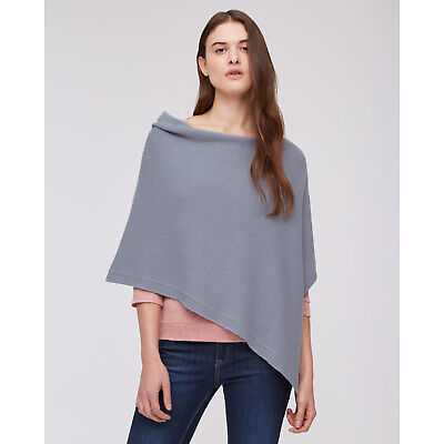 Jigsaw Knitted Ribbed Border Poncho  Womens New Blue Pitch Blue