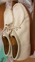 Clarks Originals X Wallabees Cream Fabric Shoe Uk 11 / Us 12