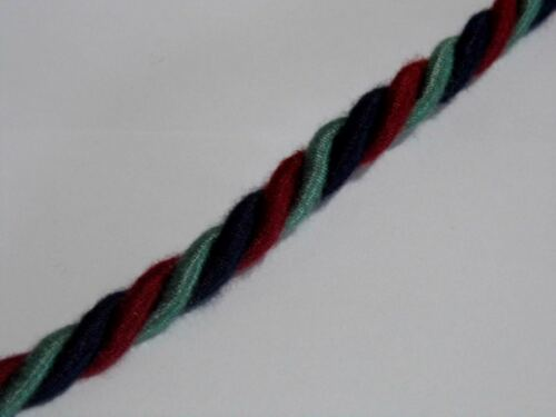 BLUE RED GREEN TWISTED TIE BACK CORD PIPING 8MM C003