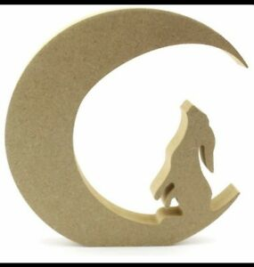 15CM HIGH MDF CRAFT SHAPE 18MM FREE STANDING WOODEN HARE ON MOON