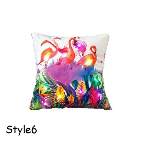 Bedroom Cushion Cover LED Light Up Throw Pillow Case Flamingo Bird Pattern
