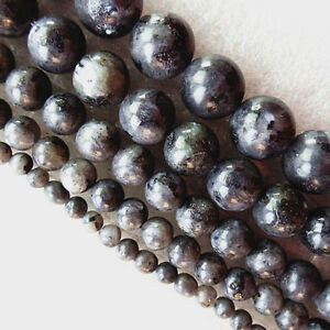 4-6-8-10-12mm-Black-Natural-Larvikite-Round-Ball-Loose-Bead-15-5-inch-GL044
